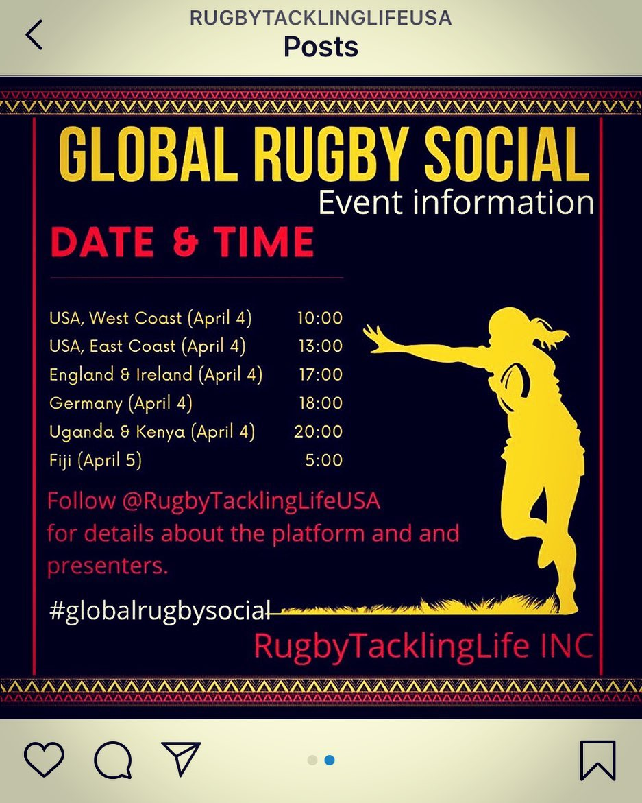 Saturday is still a Rugby day. Save the date.